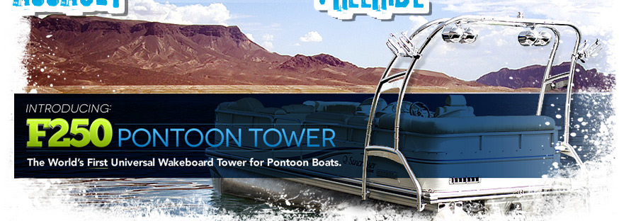 Aerial pontoon boat universal wakeboard tower