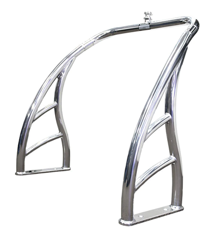 Photo showing the polished finish of Aerial's aluminum ski tow bar.