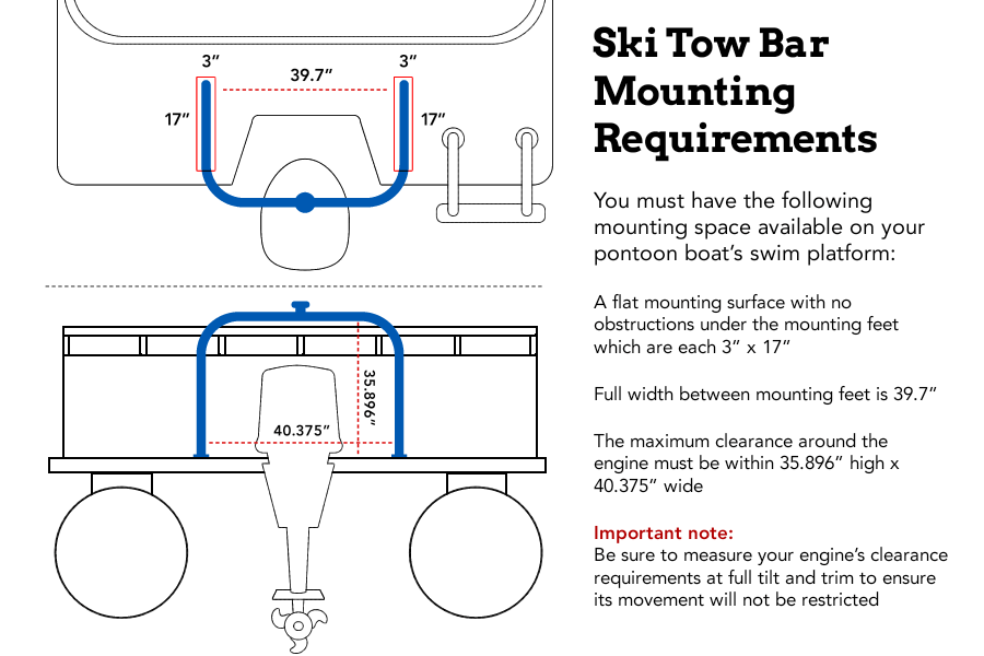 Size and measurments of the pontoon ski tow bar