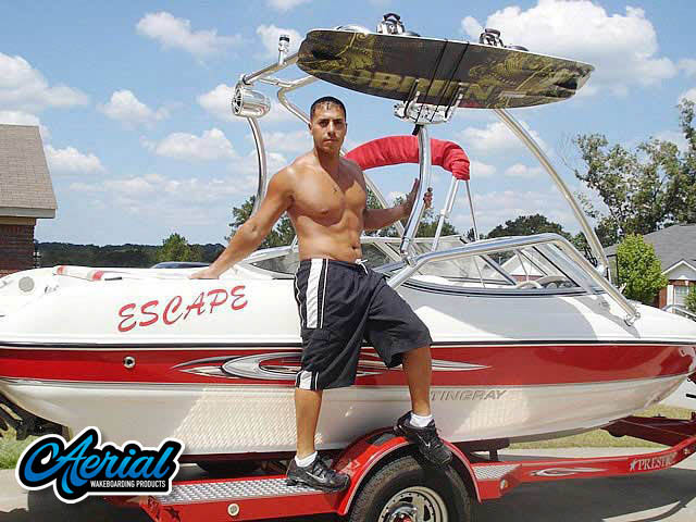 Wakeboard tower for 2008 185LS Stingray boat featuring Aerial's Airborne Tower