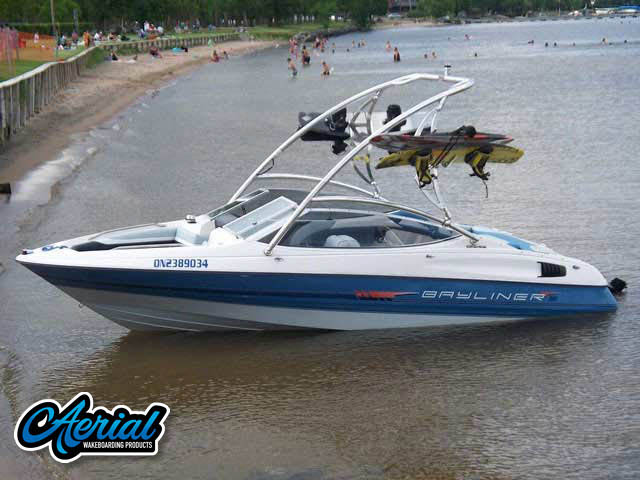 View wakeboard tower and accessories on a Bayliner Caprie 1992
