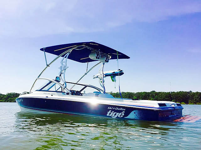 Wakeboard tower for 1994 Tige 2002FLSM boat featuring Aerial's Assault Tower with Eclipse Bimini