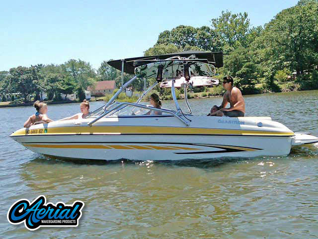 Wakeboard tower for 2007 Glastron GT205 boat featuring Aerial's Airborne Tower with Eclipse Bimini