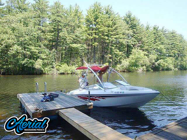 View wakeboard tower and accessories on a 1992 Baja Islander