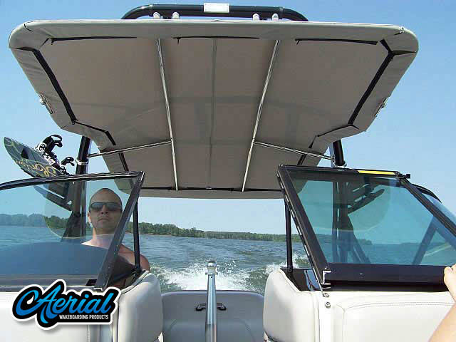 Wakeboard tower package on a 1994 MasterCraft Prostar 205  with an Aerial FreeRide Tower with Bimini