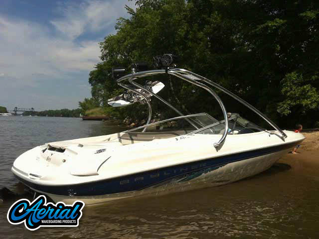 View wakeboard tower and accessories on a Bayliner