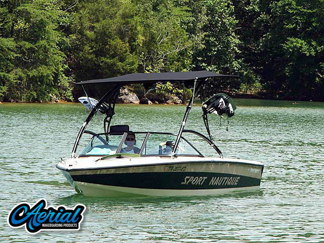 Aerial Assault Tower with Eclipse Bimini installation on a 1997 Correct Craft Sport Nautique boat