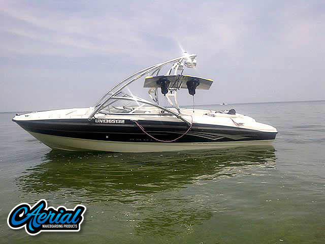 View wakeboard tower and accessories on a 2008  Bayliner 185