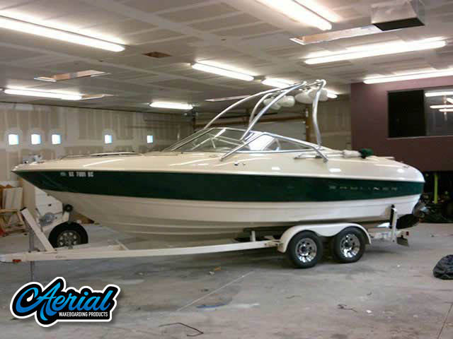 View wakeboard tower and accessories on a 1999 Bayliner 2350BD