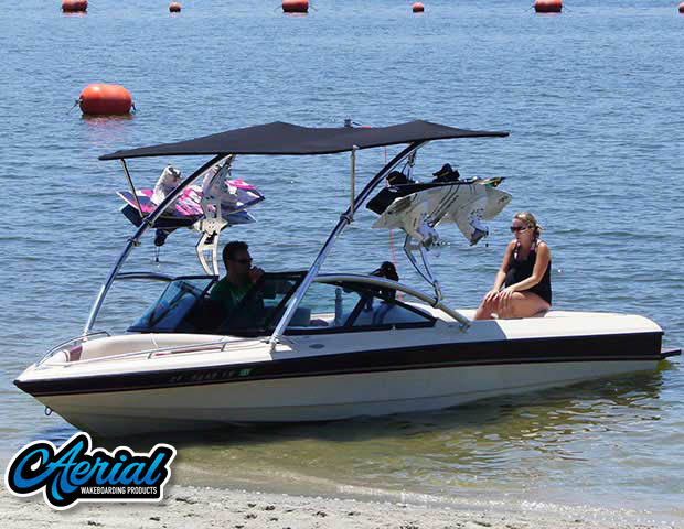 Aerial Assault Tower with Eclipse Bimini on a 1999 Malibu Response boat