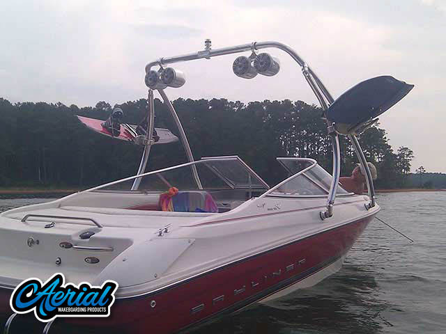 Wakeboard tower package on a 1997 Bayliner Capri with an Aerial Ascent Tower