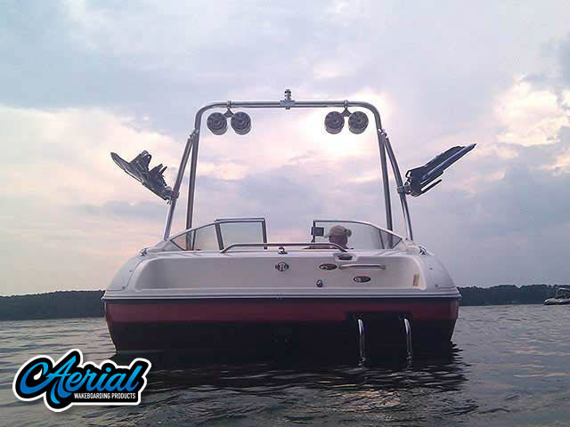 View wakeboard tower and accessories on a 1997 Bayliner Capri