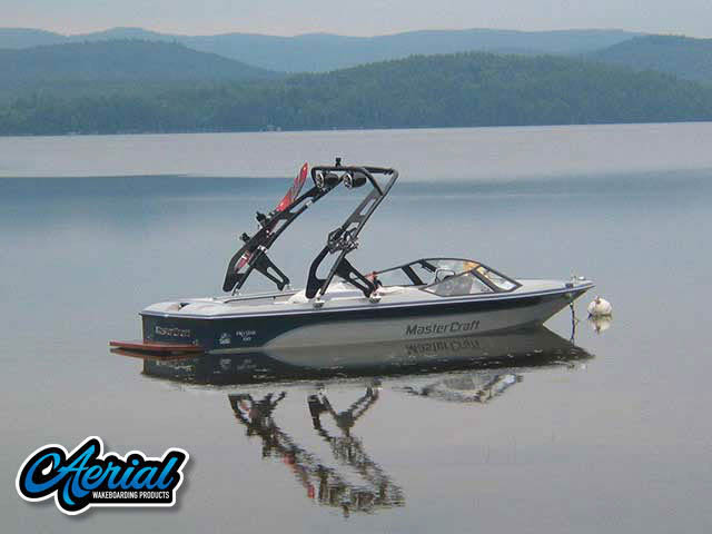 Aerial FreeRide Tower installation on a 1987 Mastercraft Prostar 190 boat
