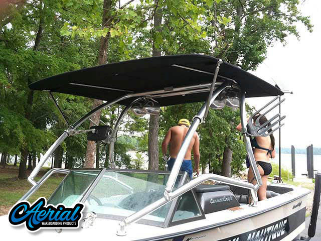 Aerial Airborne Tower with Eclipse Bimini installation on a 1974 Ski Nautique boat