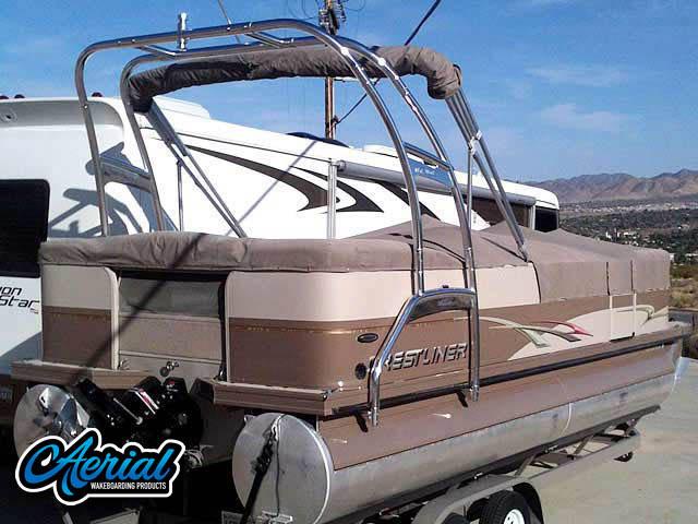Crestliner pontoon boat wakeboard tower