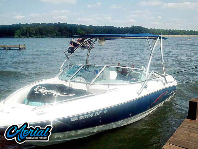 Wakeboard tower for 2005 Chaparral 220ssi boat featuring Aerial's Airborne Tower with Eclipse Bimini