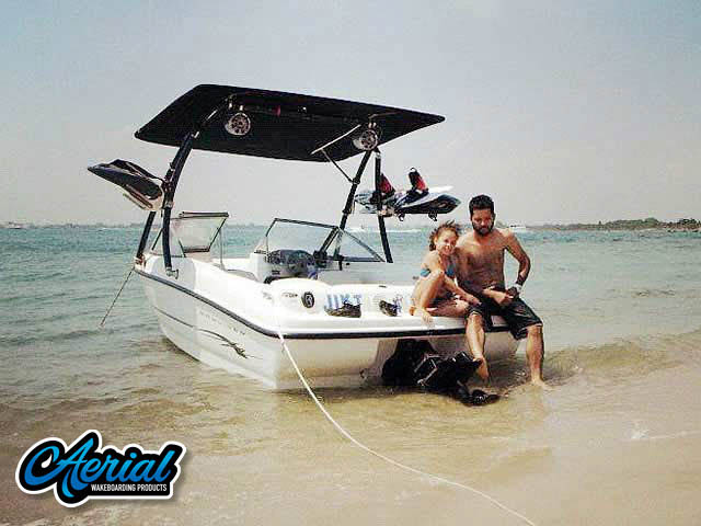 Wakeboard tower package on a 2005 Bayliner 175BR with an Aerial Ascent Tower with Eclipse Bimini