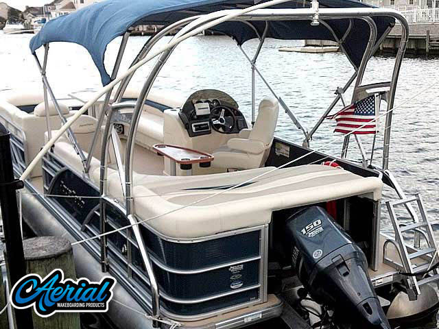 photo of wakeboard tower on pontoon boat