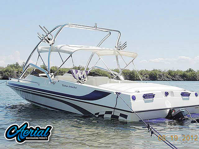 Wakeboard tower for 2001 Ultra Custom 21' boat featuring Aerial's Airborne Tower