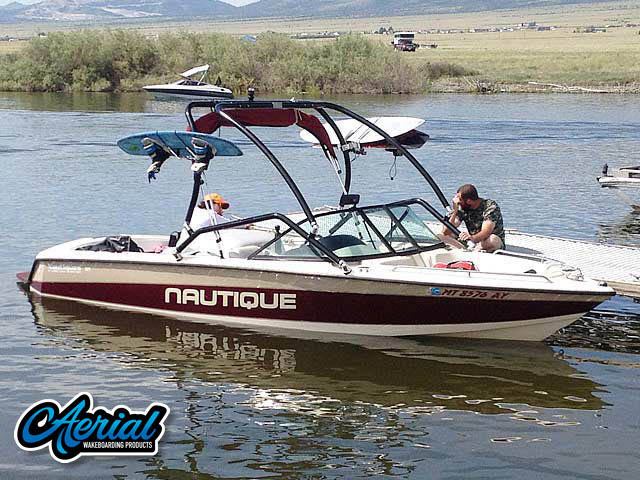 Aerial Airborne Tower installation on a 1997 Sport Nautique boat