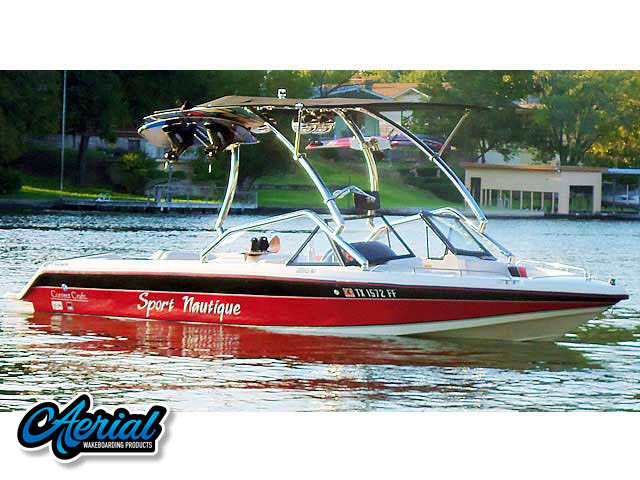 Aerial Airborne Tower with Eclipse Bimini installation on a 1991 Sport Nautique boat