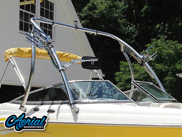 Polished Ascent 2.0 wakeboard tower installed on boat with accessories