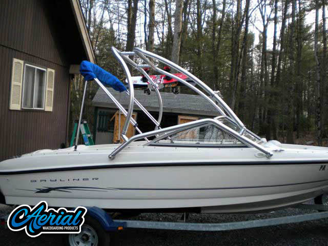 Wakeboard tower package on a 2004 Bayliner 175 Bowrider with an Aerial Airborne Tower