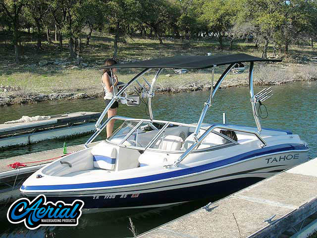 Wakeboard tower for 2008 Tahoe boat featuring Aerial's Airborne Tower with Eclipse Bimini