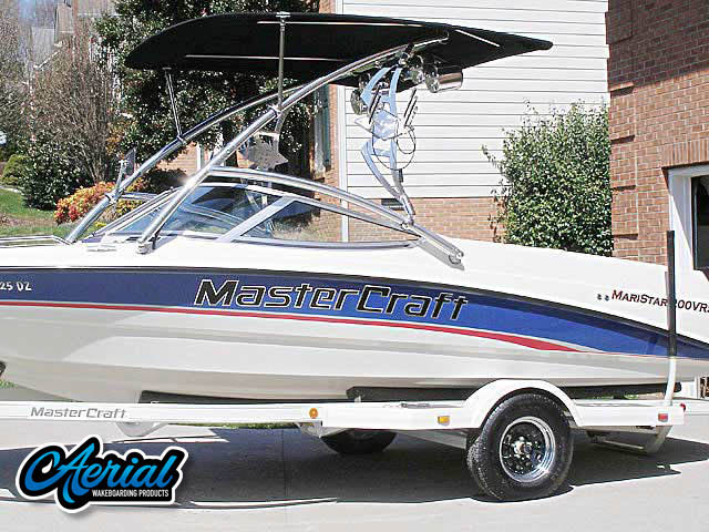 Wakeboard tower package on a 1995 MarsterCraft Maristar 200VRS with an Aerial Assault Tower with Eclipse Bimini