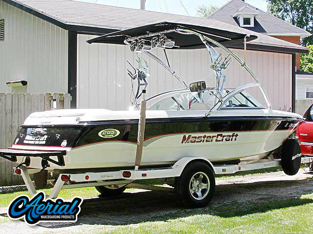 Wakeboard tower package on a 2000 MasterCraft Pro-Star 205 with an Aerial Assault Tower with Eclipse Bimini