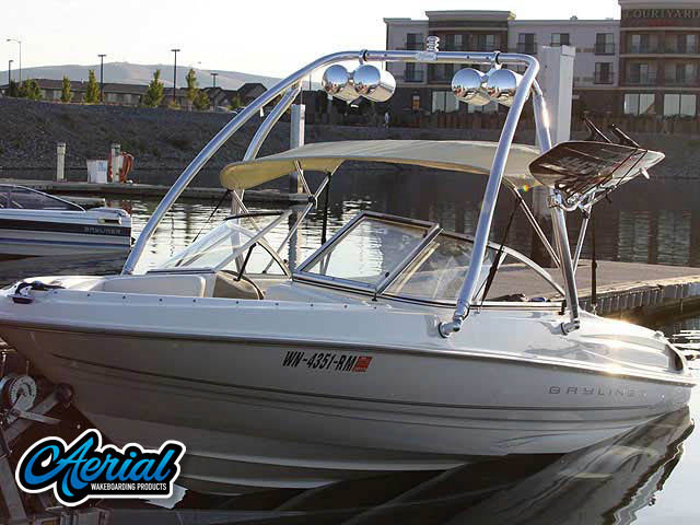 View wakeboard tower and accessories on a 1999 Bayliner Capri