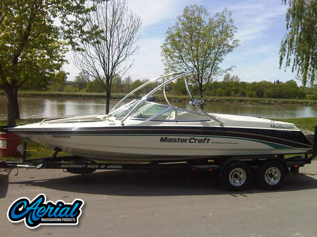View wakeboard tower and accessories on a 1997 Mastercraft Maristar 225V