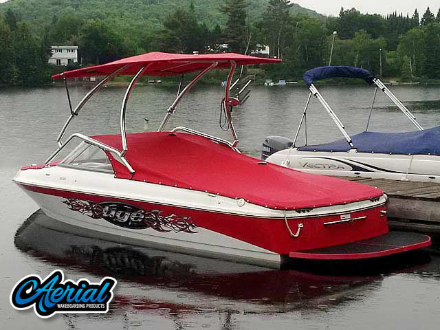 Wakeboard tower for 2007 Tige 20i boat featuring Aerial's Airborne Tower with Eclipse Bimini