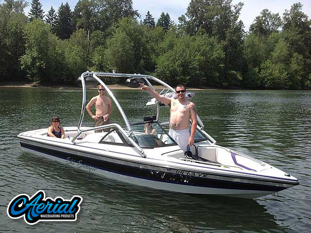 Wakeboard tower for 1998 Sanger DLX boat featuring Aerial's Airborne Tower