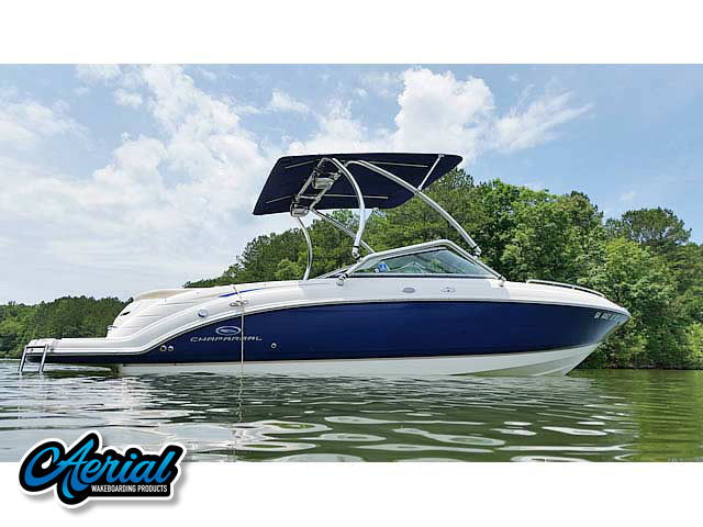 Wakeboard tower for 2005 Chaparral 236 SSI boat featuring Aerial's Airborne Tower with Eclipse Bimini