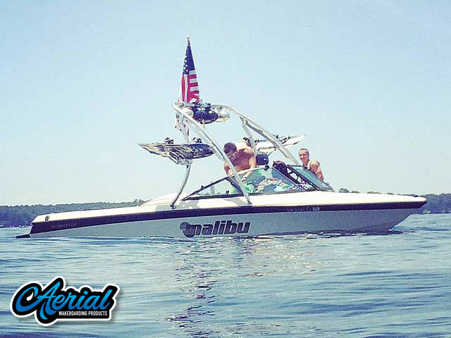 Wakeboard tower for 1998 Malibu Sportster boat featuring Aerial's Ascent Tower