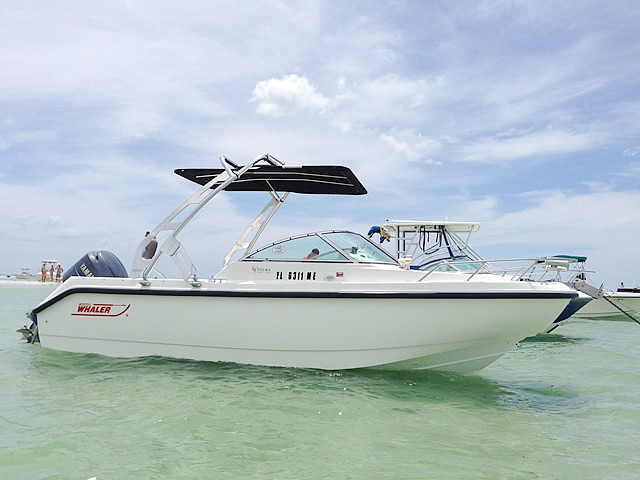 Wakeboard tower for 2001 Boston Whaler Ventura 21 boat featuring Aerial's FreeRide Tower with Bimini