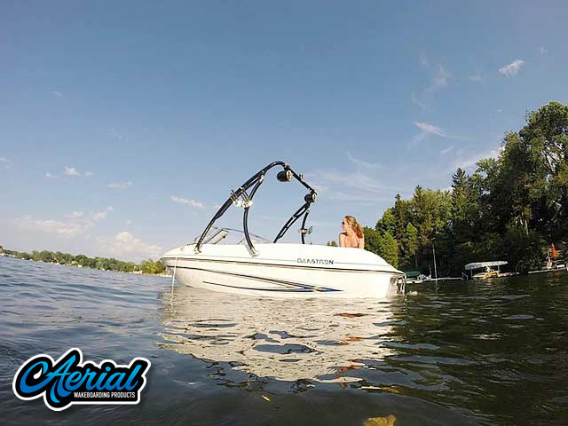 Wakeboard tower for 2005 Glastron MX 175 boat featuring Aerial's Ascent Tower with Eclipse Bimini