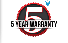 Featuring 5 year warranty