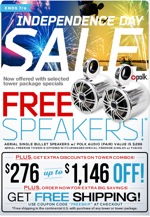 Get Free Speakers with Wakeboard Tower Purchase