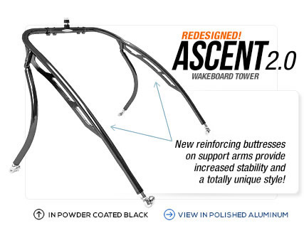 Ascent 2.0 black wakeboard tower