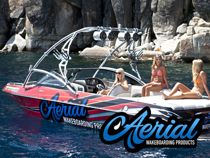 Aerial's Assault universal wakeboard tower shown in polished aluminum