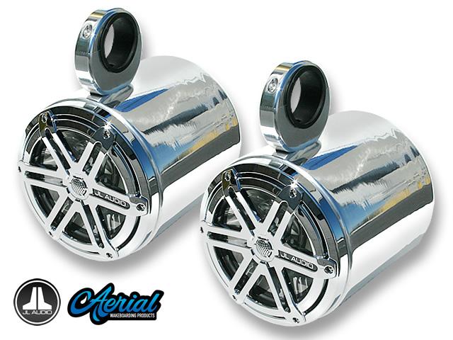 pair of single blunt wakeboard tower barrel speakers