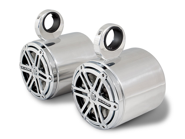 Wakeboard tower speakers Aerial 7.7 inch Blunt Wakeboard Tower Speakers in Polished Aluminum (Set of 2 single speakers) for boats