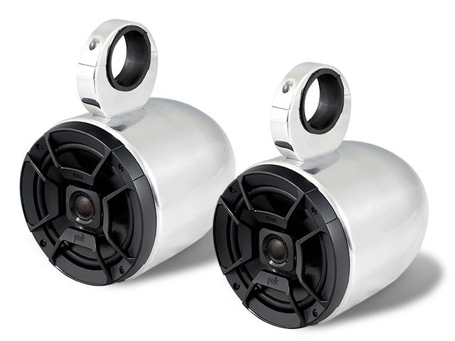 Wakeboard tower speakers Aerial Single Bullet Wakeboard Tower Speakers in Polished Aluminum (Set of 2 single speakers) for boats