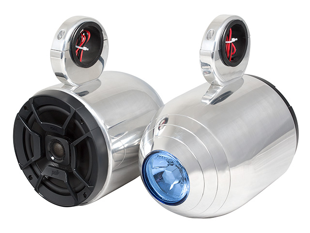 Wakeboard tower speakers Aerial Single Bullet Wakeboard Tower Speakers with Integrated Light for Wakeboard Tower  Polished Aluminum (Set of 2 single speakers) for boats