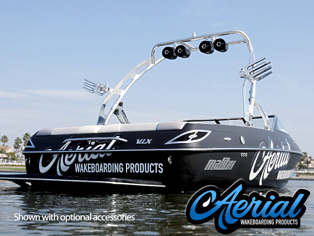 Angle view photo of Aerial FreeRide Wakeboard Tower  - Polished Aluminum installed with wakeboard tower accessories