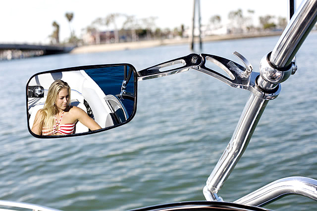 Aerial Mirror and Arm Adjustable - Universal Clamp - Polished Aluminum  by Aerial Wakeboard Towers and Accessories