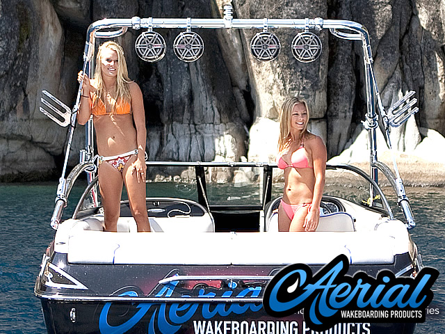Aerial Assault Wakeboard Tower with Integrated Navigation LED Light - Polished Aluminum with 2 Wakeboard Tower Racks helps wakeboarding from a boat