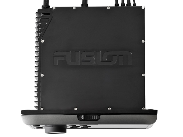Fusion MS-UD650 top view shows a standard depth to fit your boat's stereo console slot